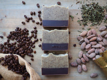 Morning coffee, natural, handmade soap with coffee grounds and a light peppermint scent. Gentle exfoliation. Vegan