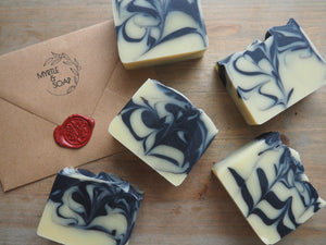 Deep Dusk natural soap with tea tree, lavender and eucalyptus essential oil.