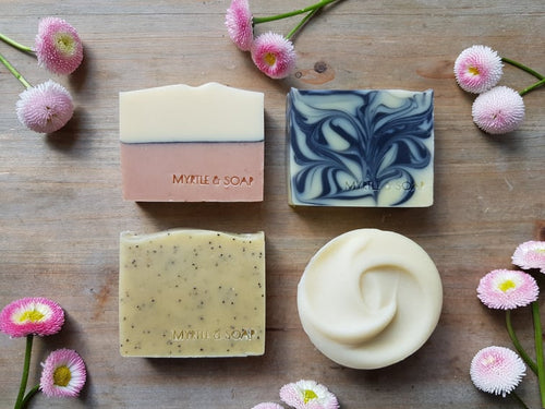 Vegan soap set with four natural, handmade soaps. All vegan and cruelty free
