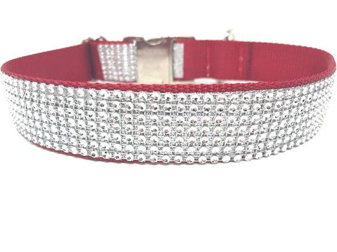 red dog collar, rhinestone dog collar, dog collar for girls, female, bling, sparkly