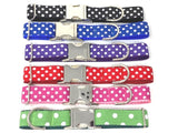 "Polka Dot, Dog Collar, Pet Collar, Red, Pink, Black, Blue, Purple, Green, Personalized, Engraved, Custom, Puppy, 5/8, 3/4"", 1"", 1.5"" Wide"