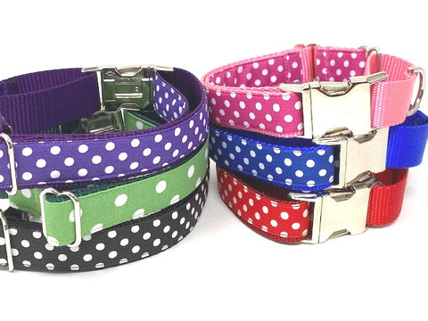 Martingale Dog Collar With Metal Buckle, Polka Dot, Red, Pink, Black, Blue, Purple, Green, Personalized, Engraved, Custom, Greyhound, Whippe