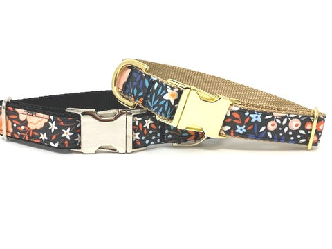 Black Floral Dog Collar For Girls, Fall, Peach, Blue, Pink, Gold, Silver, Personalized, Engrave, Small, Medium, Large, XL