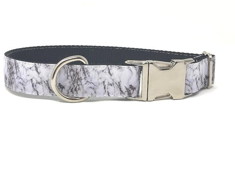 black and white marble print dog collar, cat collar, for girls or boys, personalized, engraved, custom