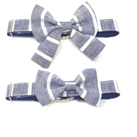 Dog Bow Tie, Bowtie, Girly Bow, Dog Collar Bow, Stripe, Blue, White, Girls, Boys 3, Dog Collar NOT Included, Cat Bowtie
