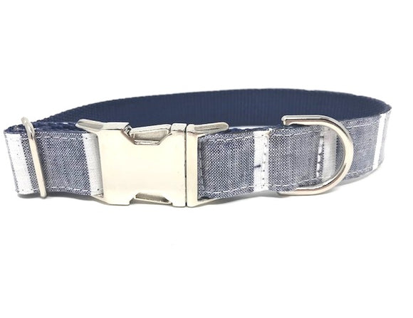 stripe dog collar, blue, white, boys, male, personalized, engraved, small, medium, large, extra large, dogs, cat, pet