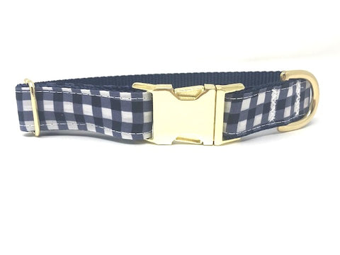 navy blue and white plaid dog collar for boys is made with quality Gold, brass plated, Metal Hardware and a sturdy side release buckle