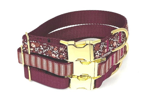 Burgundy Dog Collar, Floral, Stripe, Solid, Girls, Boys, Gold, Maroon, Personalized, Engraved, Fall, Autumn, Thanksgiving, Seasonal