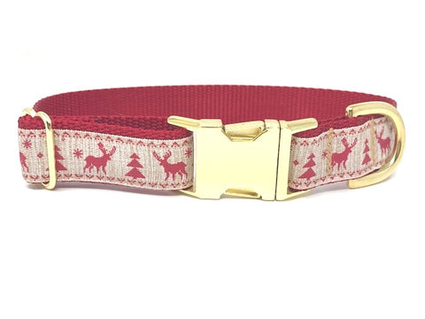 Christmas Dog Collar, Rustic, Reindeer, Christmas Tree, Red, Gold, Girls, Boys, Male, Female, Personalized, Engraved, Beige, Trendy, Fashion