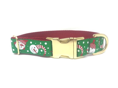 Christmas Dog Collar, Snowman, Winter, Red, Green, Gold, Girls, Boys, Holiday, Snow, Personalized, Engraved, Festive, Xmas