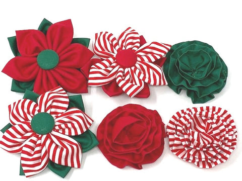 Christmas, Holiday, Red, Green, White, Dog Collar Flower, Optional, Removable, For Girls, Boys