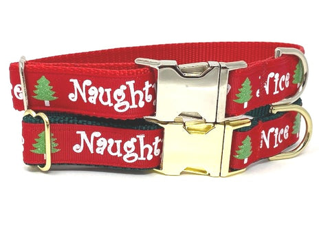 Christmas Dog Collar, Naughty, Nice, Girls, Boys, Red, Green, Gold, Silver, Seasonal, Personalized, Engraved, Holiday, Xmas, Glitter