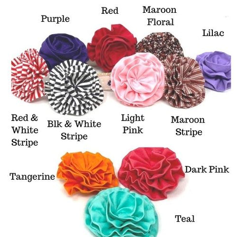 "Choose your color and add a cute dog collar flower to your Big Pup Pet Fashion collar!  Our dog collar flowers are approx 3""  Color Options:  Pink Red Red & White Stripe Black & White Stripe Lilac Purple Maroon Floral Maroon Stripe Tangerine Dark Pink Teal"