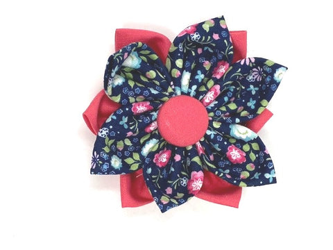 Dog Collar Flower Pink And Blue Floral