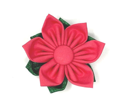 Dog Collar Flower, Dark Pink, Green, 2 Layer, Removable, Easy Slide On, Off