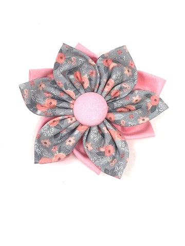 Dog Collar Flower, Pink And Grey Floral