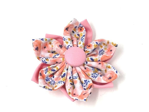 Dog Collar Flower, Pink, Blue, Floral, Pet Collar Flower, Removable, Slide On Off