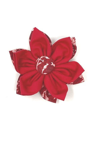 Dog Collar Flower, Red And White, Slide On Off