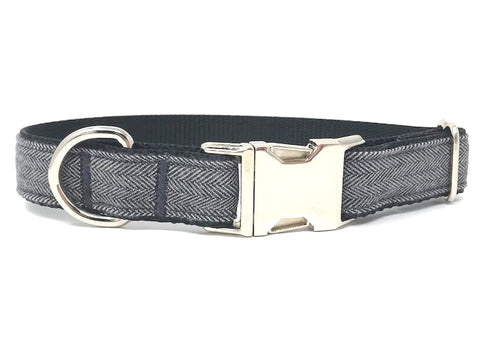 dog collar for boys, male, black, white, grey, herringbone, designer, fashion, fabric, small, medium, large, xl, personalized, engraved, upscale, pet collar, cat collar