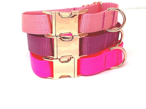 Pink, Raspberry, Rose Gold, Martingale With Metal Buckle, For Girls, Female, Personalized, Engraved, Boutique, Choker Collar, Greyhound