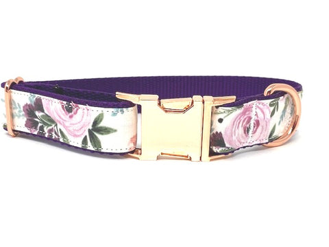 Floral, Dog Collar, For Girls, Purple, Rose Gold, Female, Personalized, Engraved, Metal Buckle, Nylon, Fabric, Small, Medium, Large, XL