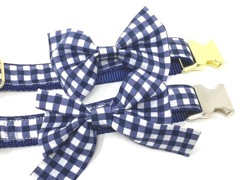 Dog Bow Tie, Bowtie, Girly Bow, Dog Collar Bow, Gingham, Plaid, Blue, White, Girls, Boys 3, Dog Collar NOT Included, Cat Bowtie