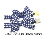 Dog Collar, Blue, White, Plaid, Preppy, Gold, Silver, For Boys, Nautical Inspired, Personalized, Engraved, Custom, Cat, Pet Collar