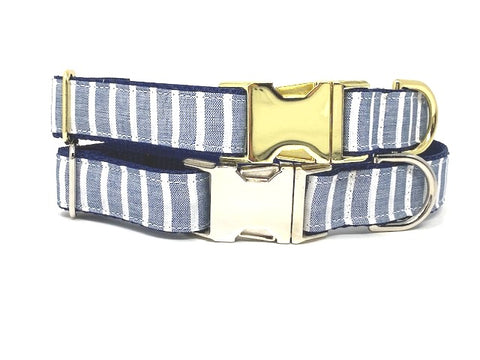 Dog Collar, Blue, White, Stripe, Preppy, Gold, Silver, For Boys, Nautical Inspired, Personalized, Engraved, Custom, Cat, Pet Collar