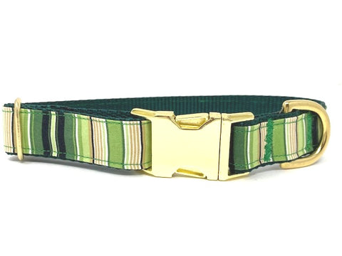 Dog Collar, For Boys, Girls, Stripe, Green, Yellow, Gold, Personalized, Engraved, Small, Medium, Large, XL, Pet Collar, Male, Christmas