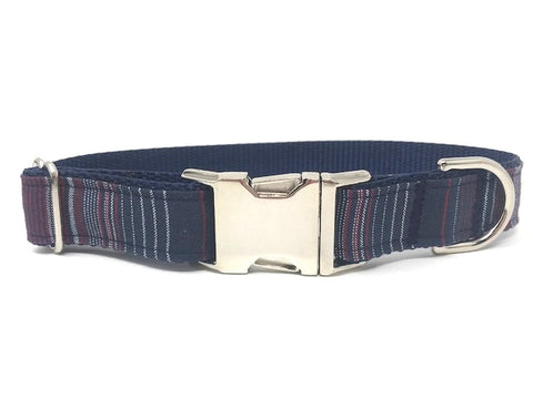 Dog Collar, For Boys, Navy Blue, Maroon, Silver Sparkle, Stripes, Trendy, Fashion, Boutique, Personalized, Engraved, Pet Collars, Male, boutique dog collar