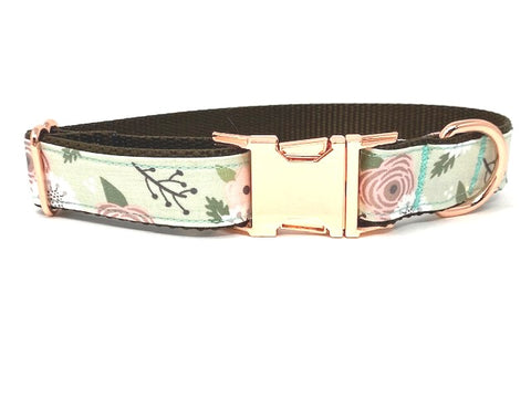 Dog Collar, For Girls, Personalized, Rose Gold, Pink, Mint Green, Brown, Female, Engraved, Floral Pet Collar, Trendy, Fashion, Dog Collars