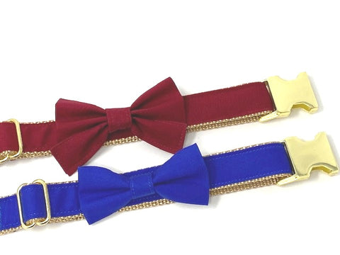 Dog Collar, Girls, Boys, Maroon, Burgundy, Blue, Gold, With Removable Bowtie, Personalized, Engraved, Customized, Fall, Winter