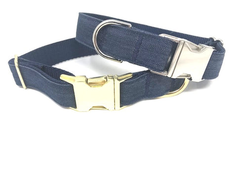 blue denim pet collar for girl or boy cat or dogs, personalized, engraved, custom, small, medium, large, extra large