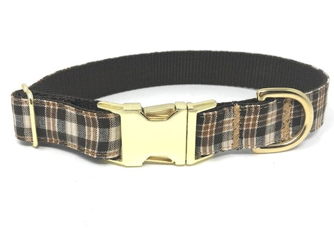 plaid dog collar, for boys, male, brown, cream, personalized, engraved, cat, pet, small, medium, large, extra large