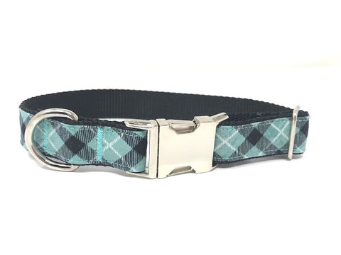 teal, blue, black, and white dog or cat collar for boys or girls, personalized, engraved, pet collar