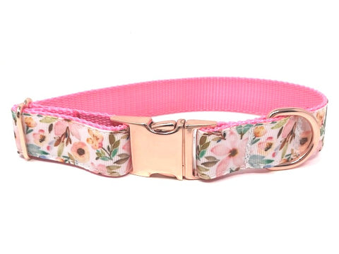 floral dog collar, for girls, pink, peony, flowers, rose gold, female, personalized, engraved, small, medium, large, extra large