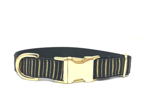 gold, black, stripe, striped, dog collar, girls, boys, personalized, engraved, cat, pet, small, medium, large, extra large