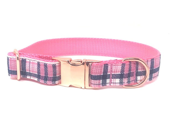 plaid dog collar, pink, blue, white, girls, rose gold, personalized, engraved, small, medium, large, extra large, pet, cat