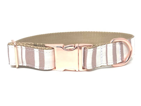Rose Gold, White, Stripe, Dog Collar, For Girls, Personalized, Engraved