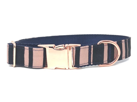 rose gold, blue, stripe, striped, dog collar, cat collar, pet collar, personalized, engraved, small, medium, large, xl