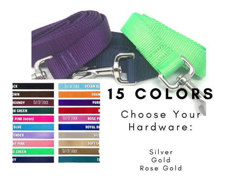 Nylon Dog Leash, Solid, Multi - Colors Available