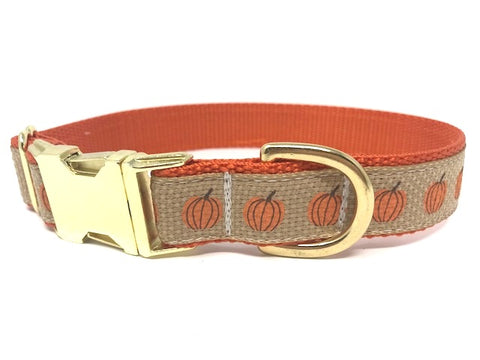 Pumpkin Dog Collar, Fall Dog Collar, Thanksgiving, Orange, Rustic, Girl, Boy, Male, Female, Personalized, Engraved, Customized, Orange