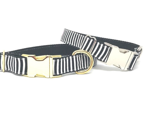 stripe dog collar, black, white, striped, gold, silver, rose gold, girls, boys, personalized, engraved, small, medium, large, extra large, dog, cat, pet collar