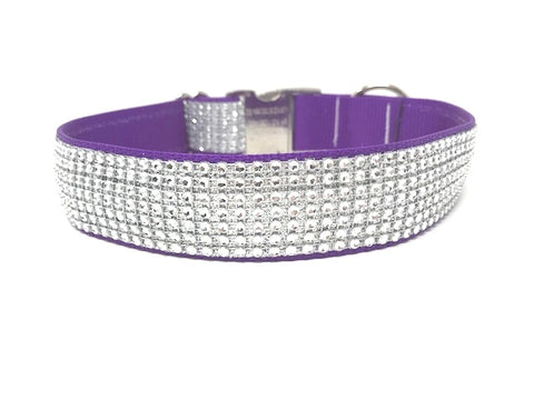 purple dog collar, rhinestone dog collar, dog collar for girls, female, bling, sparkly