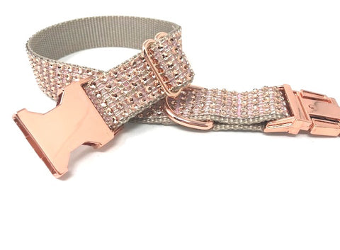 rose gold dog collar, rhinestone dog collar, dog collar for girls, female, bling, sparkly