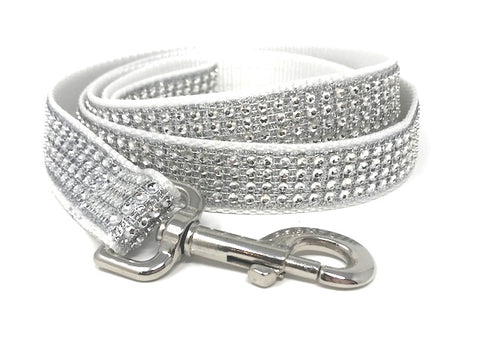 white/silver rhinestone dog leashes for girls or boys, wedding, fancy, sparkly, sparkle, bling, 5 foot