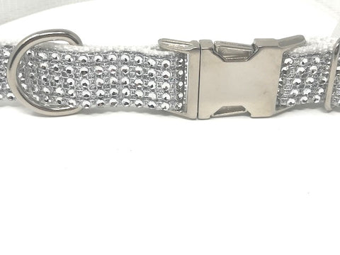White Rhinestone Dog Collar For Girls, Boys, Fancy, Bling, Sparkle, Personalized