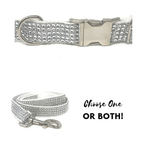 white dog collar, rhinestone dog collar, dog collar for girls, female, bling, sparkly