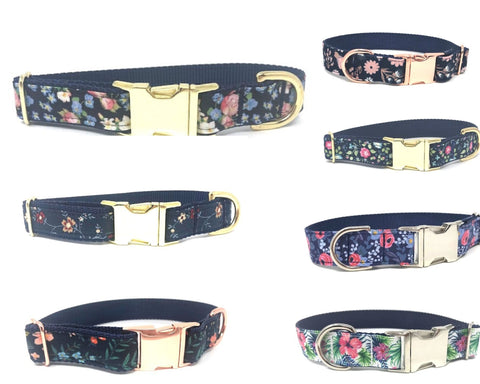floral dog collar, for girls, trendy, fashion, stylish, cute, pretty, pink, navy blue, gold, rose gold, silver, matching leash, personalized, engraved, custom, small, medium, large, xl dog collars