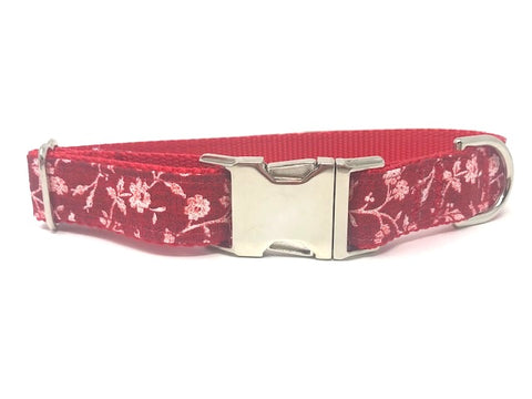 Floral Dog Collar, For Girls, Red And White Flower Print, Female Dog Collar, Personalized, Engraved, Boutique, Fashion